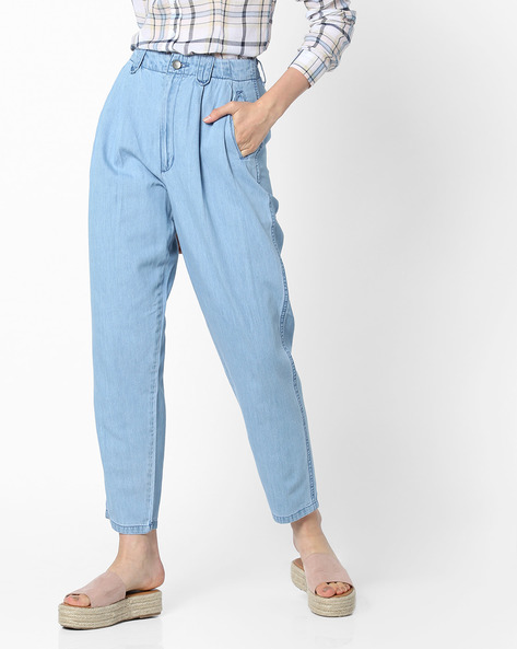 Mid-Rise Jeans With Pleated Front By AJIO ( Lightblue )