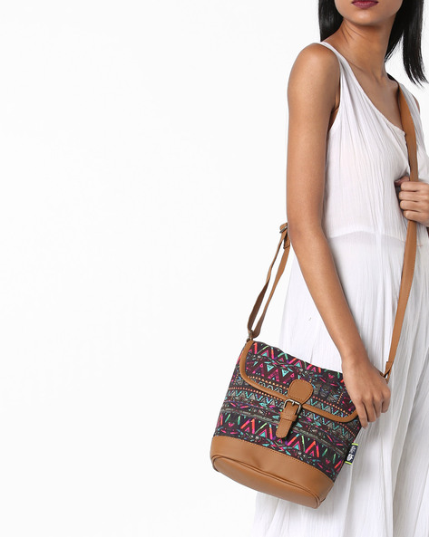 Printed Sling Bag By Kanvas Katha ( Tan ) - 460124240001