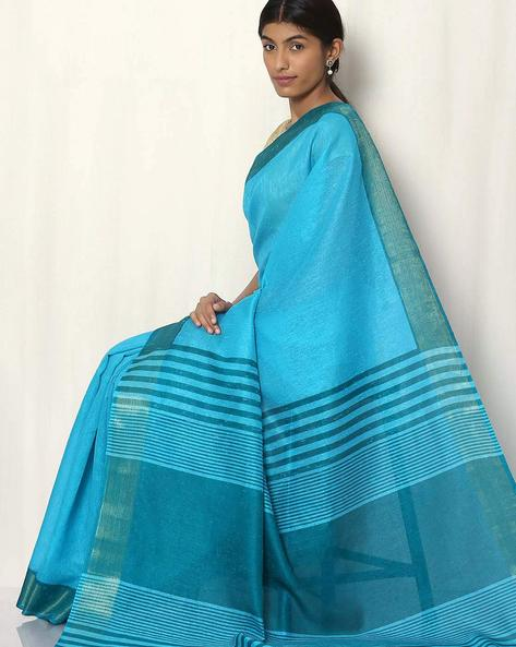 Handwoven Art Silk Saree By Rudrakaashe-MSU ( Blue )
