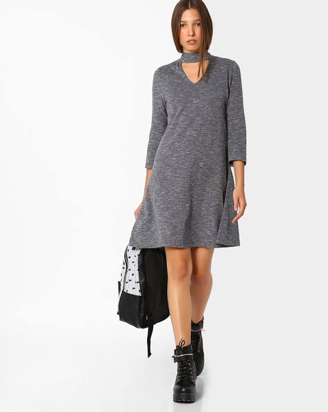 Knitted Dress With Cut-Out By Femella ( Grey )