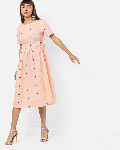 Embroidered A-line Dress With Tie-Ups By AJIO ( Peach )