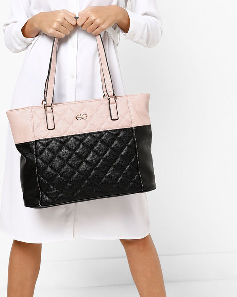 Quilted Colourblock Tote With Zip Closure By E2O ( Black )