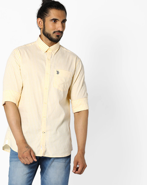 Checked Slim Fit Cotton Shirt By U.S. Polo Assn. ( Yellow )