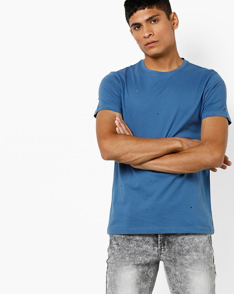 Distressed Crew-Neck T-shirt By AJIO ( Blue )