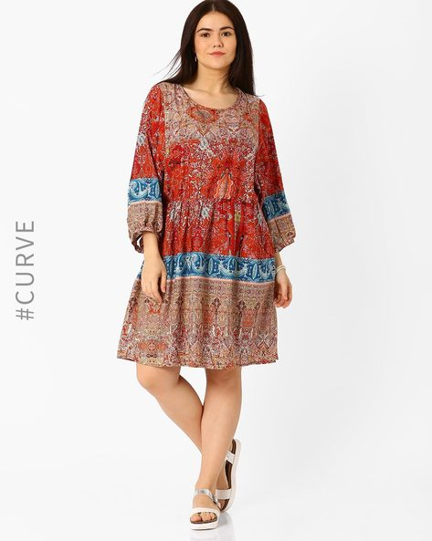 Printed Fit & Flare Dress By Oxolloxo ( Multi )