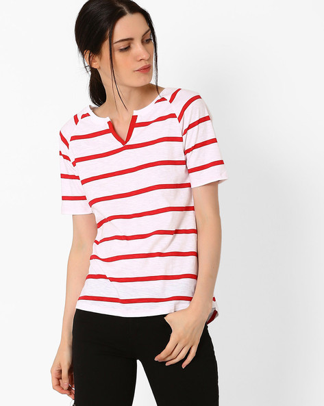 Striped Cotton T-shirt By TEAM SPIRIT ( Red )