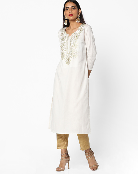 Straight Kurta With Embroidery By AJIO ( Offwhite ) - 460086135002
