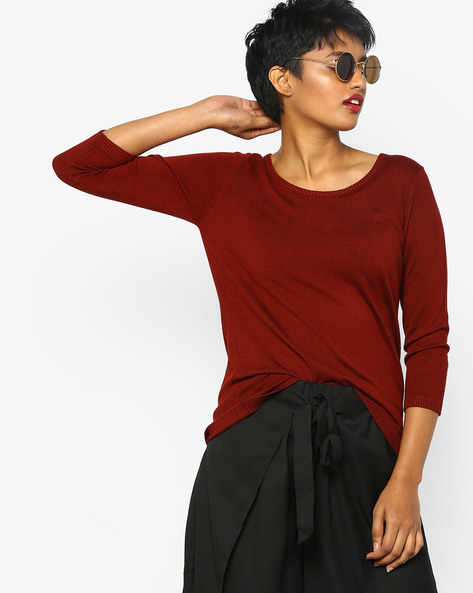 Knitted Top With Ribbed Hems By Project Eve WW Work ( Red )