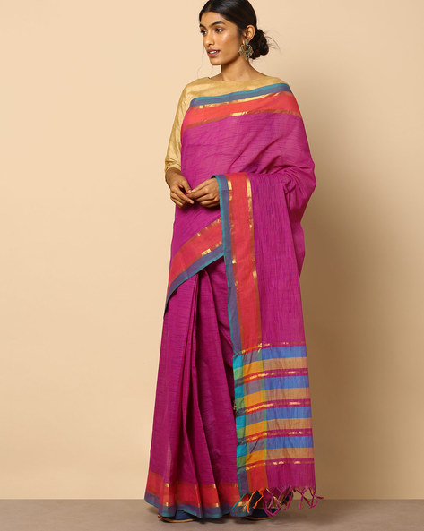 South Cotton Striped Saree With Zari Border By Indie Picks ( Violet )
