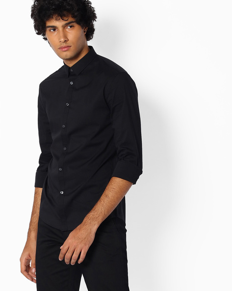 Cotton Shirt With Spread Collar By Celio ( Black )