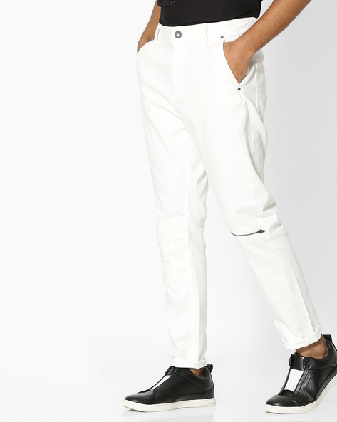 Mid-Rise Jeans With Knee Zipper By Blue Saint ( White )