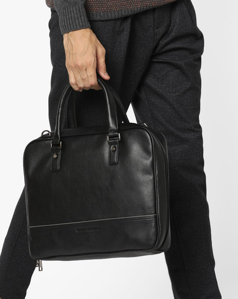 Laptop Messenger Bag By GAUGE MACHINE ( Black )
