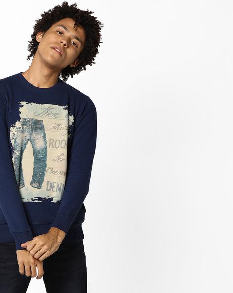 Graphic Print Crew-Neck Sweatshirt By Killer ( Navy )