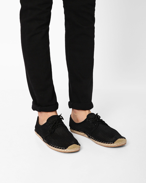 Perforated Lace-Up Espadrilles By AJIO ( Black )