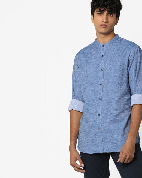 Mandarin Shirt With Patch Pocket By AJIO ( Blue )