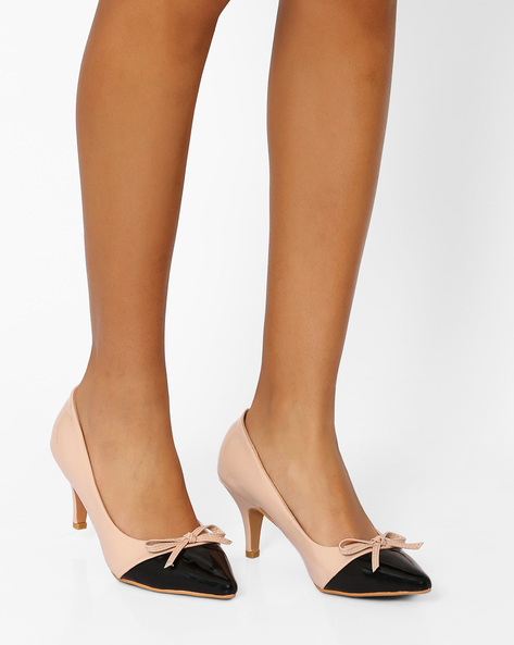 Pointy-Toe Heels With Bow Detail By AJIO ( Nude )