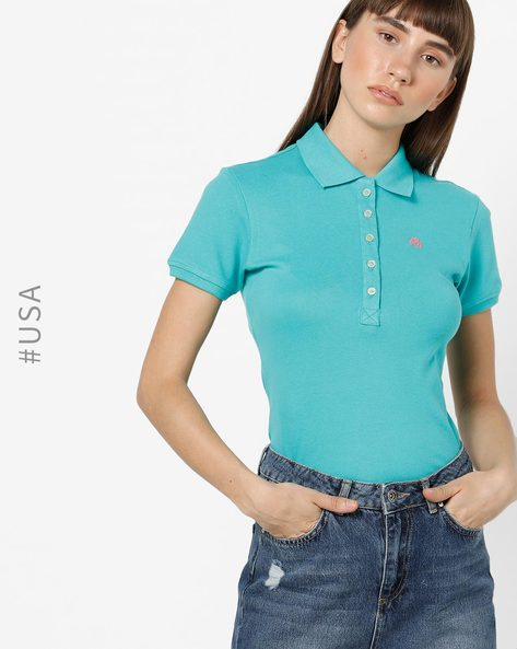 Polo T-shirt With Ribbed Collar By Aeropostale ( Aqua )