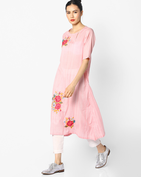 Straight Kurta With Embroidery By Melange By Lifestyle ( Pink )