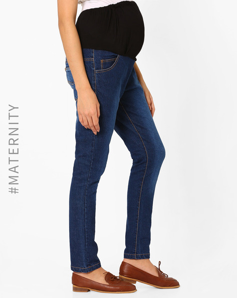Lighty Washed Maternity Jeans By Preggear ( Blue )