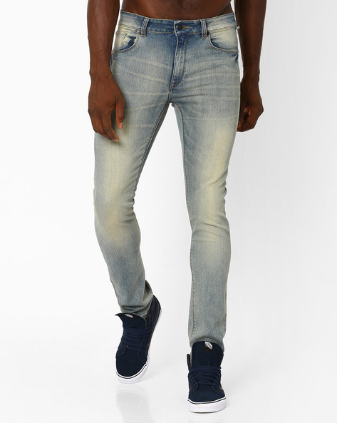 Lightly Washed Slim Fit Jeans By Blue Saint ( Indigo ) - 460033036001