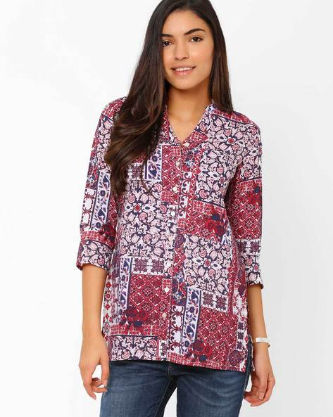 Floral Print Shirt By Akkriti By Pantaloons ( Purple )