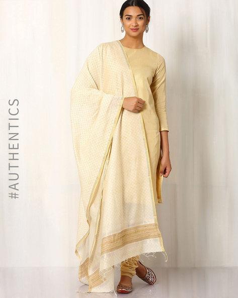 Hand Block Print Maheshwari Dupatta By Indie Picks ( White ) - 460017090001