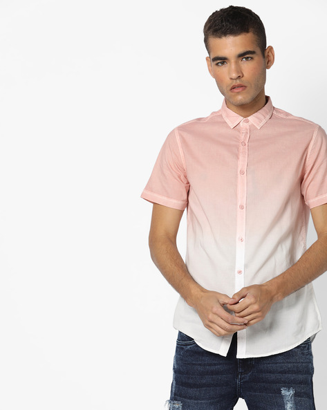 Ombre-Dyed Shirt With Curved Hemline By AJIO ( Pink )