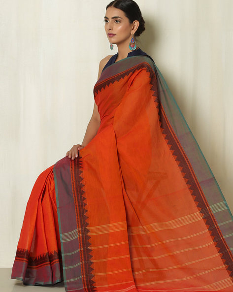 Striped Kanchi Cotton Saree With Woven Temple Border By Indie Picks ( Orange )