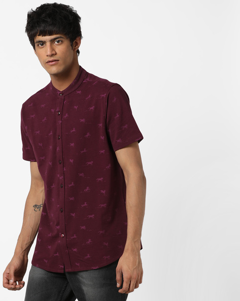 Printed Shirt With Band Collar By AJIO ( Purple )