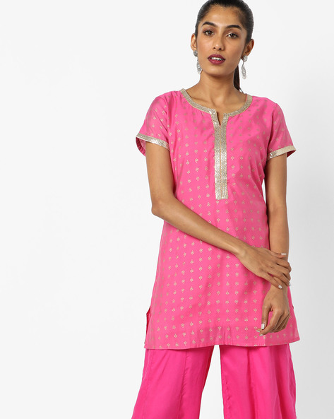 Printed Kurta With Contrast Taping By AJIO ( Fuchsia )