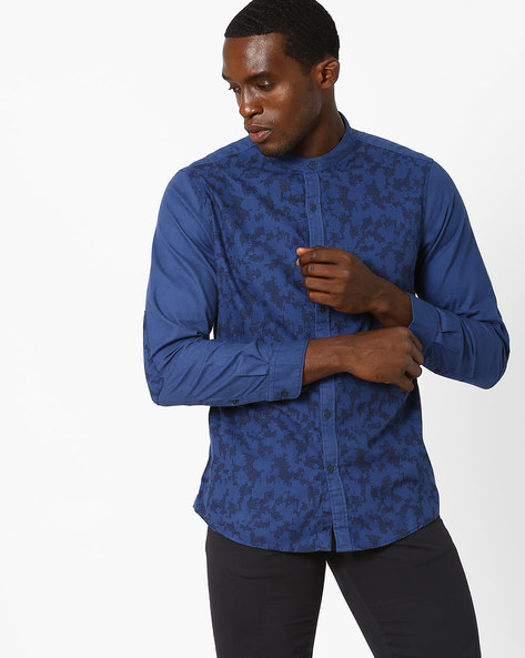 Printed Slim Fit Shirt With Elbow Patches By AJIO ( Blue )