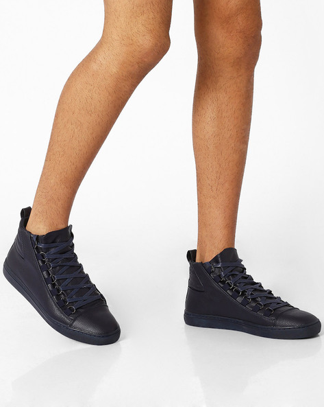 Mid-Top Lace-Up Sneakers By AJIO ( Navy )