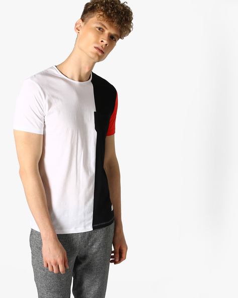 Colourblock Crew-Neck T-shirt By UNITED COLORS OF BENETTON ( White )