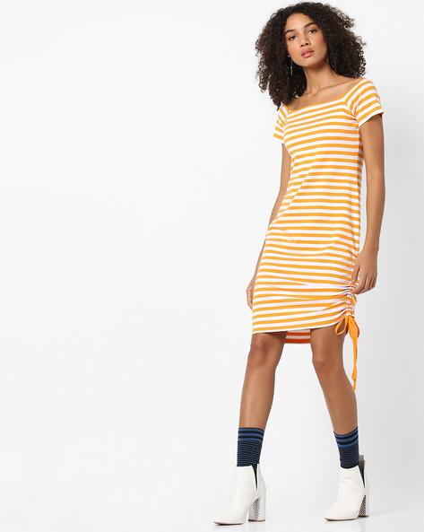 Striped Bodycon Dress With Tie-Up By AJIO ( Mustard )