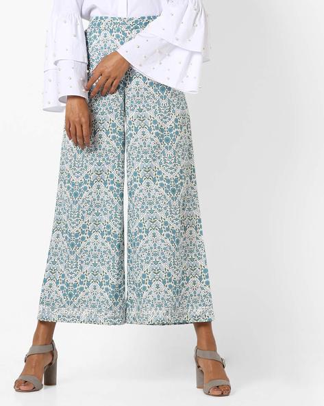 Floral Print Sharara Pants By AJIO ( Blue )