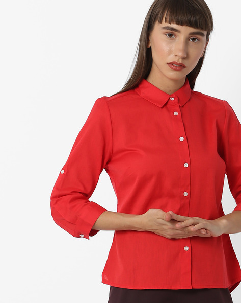 Cotton Shirt With High-Low Hemline By FIG ( Red )