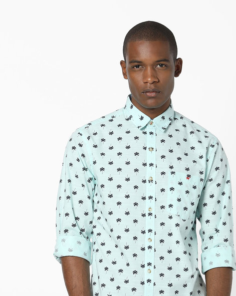 Printed Slim Fit Shirt With Patch Pocket By Wills Lifestyle ( Beige )