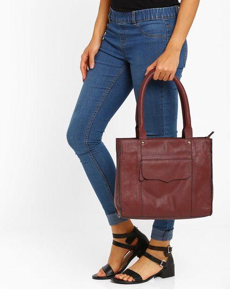 Tote Bag With Flap Pocket By AJIO ( Burgundy )