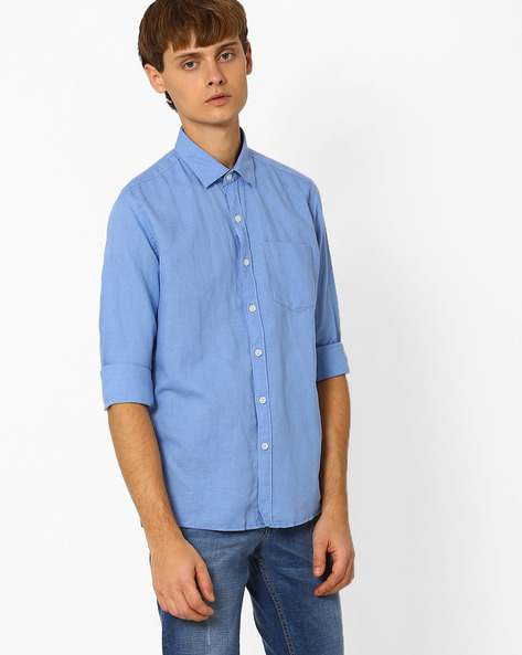 Linen Shirt With Patch Pocket By NETPLAY ( Blue )
