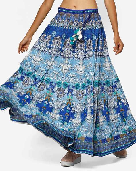 Printed Flared Skirt With Tassel Tie-Up By Shree ( Blue )