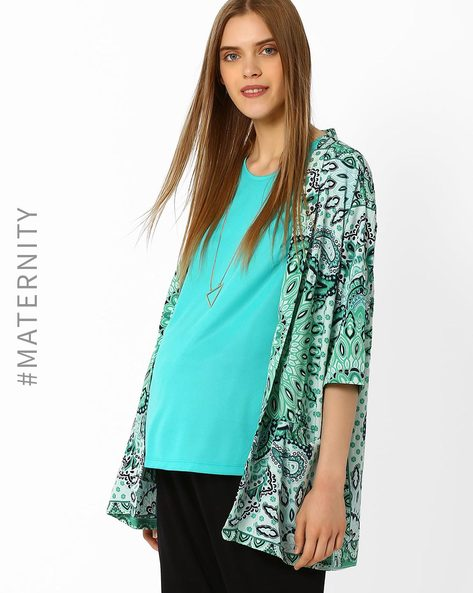 Printed Maternity Shrug With Pockets By Oxolloxo ( Green )