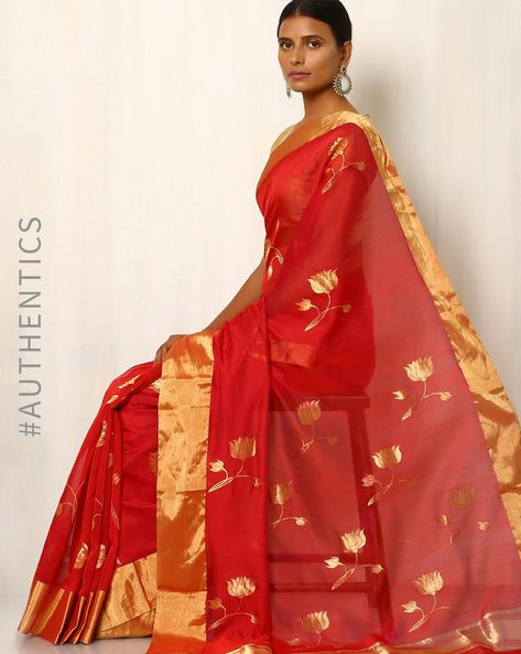 Handwoven Pure Silk Cotton Chanderi Saree By Indie Picks ( Pink )