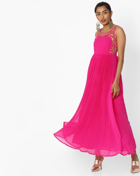 Pleated Flared Dress With Embroidery By Trishaa By Pantaloons ( Pink )