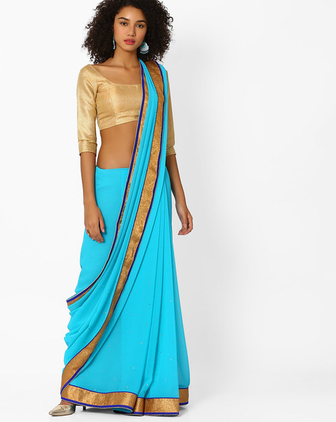 Embellished Saree With Contrast Zari Border By Viva N Diva ( Lightblue )