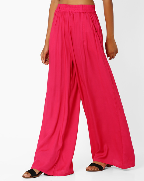 Palazzo Pants With Tassel Tie-Up By Khimsariya ( Fuchsia )