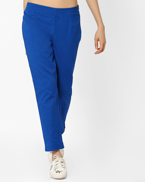 Straight Fit Cotton Trousers By AURELIA ( Blue ) - 440772986001