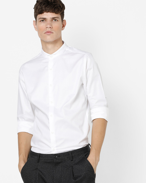 Slim Fit Shirt With Band Collar By UNITED COLORS OF BENETTON ( White )