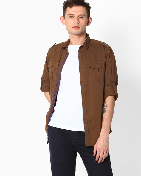 Slim Fit Shirt With Shoulder Tabs By The Indian Garage Co ( Coffeebrown )