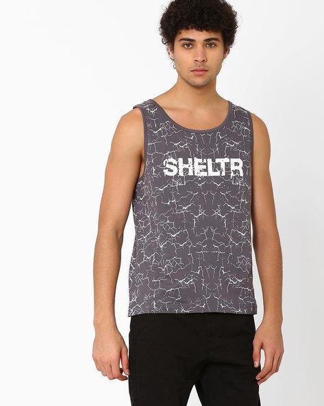 Printed Slim Fit Sleeveless T-shirt By SHELTR ( Grey )