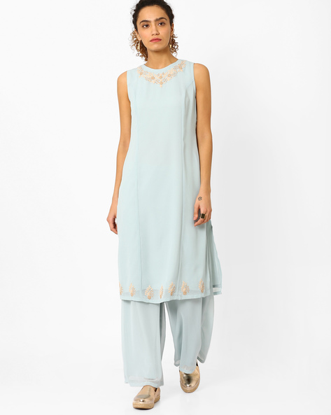 Straight Kurta With Embroidery By AJIO ( Lightblue )